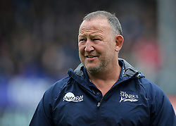 Sale Sharks Head coach Steve Diamond watches warm up before kick off during the Aviva Premiership match at Sandy Park, Exeter.