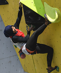 HUAI'AN, Oct. 10, 2018  Indonesia's Agustina Sari competes during the women's lead semifinal at ''The Belt and Road'' International Climbing Master Tournament 2018 in Huai'an City, east China's Jiangsu Province, Oct. 10, 2018. (Credit Image: © Xinhua via ZUMA Wire)