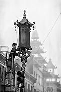 Man repairing lantern in Chinatown San Francisco
