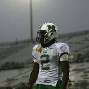 Marshall running back Tron Martinez (2)prepares in the rain prior to an NCAA football game between the Marshall Thundering Herd and the Central Florida Knights at Bright House Networks Stadium on Saturday, October 8, 2011 in Orlando, Florida. Thunderstorms are expected for this evenings game.(Photo/Alex Menendez)