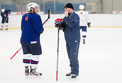 Gasper Kopitar and his father Matjaz Kopitar, head coach during practice session of Slovenian Ice Hockey National Team for IIHF World Championship in Sweden and Finland, on March 28, 2013, in Arena Zlato Polje, Kranj, Slovenia. (Photo by Vid Ponikvar / Sportida.com)