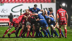 Leinster's Josh Murphy organises the drive<br /> <br /> Photographer Craig Thomas/Replay Images<br /> <br /> Guinness PRO14 Round 17 - Scarlets v Leinster - Friday 9th March 2018 - Parc Y Scarlets - Llanelli<br /> <br /> World Copyright © Replay Images . All rights reserved. info@replayimages.co.uk - http://replayimages.co.uk