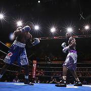 Willie Nelson (R) and Tony Harrison fight during their Premier Boxing Champions boxing match on ESPN at the USF Sun Dome, on Saturday, July 11, 2015 in Tampa, Florida.  Nelson won the match by TKO. (AP Photo/Alex Menendez)