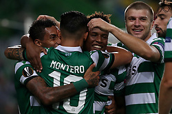 September 20, 2018 - Lisbon, Portugal - Sporting's forward Jovane Cabral from Cabo Verde (C ) celebrates with teammates after scoring during the UEFA Europa League Group E football match Sporting CP vs Qarabag at Alvalade stadium in Lisbon, on September 20, 2018. (Credit Image: © Pedro Fiuza/NurPhoto/ZUMA Press)