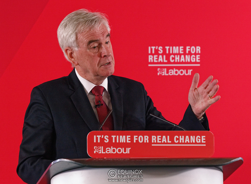 London, United Kingdom - 9 December 2019<br /> John McDonnell gives an economics speech in the run up to the general election 2019, on behalf of the Labour Party at Coin Street Community Builders, London, England, UK.<br /> (photo by: EQUINOXFEATURES.COM)<br /> Picture Data:<br /> Photographer: Equinox Features<br /> Copyright: ©2019 Equinox Licensing Ltd. +443700 780000<br /> Contact: Equinox Features<br /> Date Taken: 20191209<br /> Time Taken: 11465623<br /> www.newspics.com