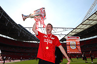 Football - NPower League 2 play-off final -  Cheltenham Town v Crewe Alexandra<br /> Adam Dugdale of Crewe Alexandra celebrates with the trophy at Wembley