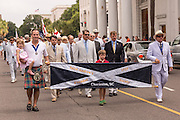 Members of the Saint Andrew's Society march down Meeting Street to celebrate Carolina Day June 28, 2014 in Charleston, SC. Carolina Day celebrates the 238th anniversary of the American victory at the Battle of Sullivan's Island over the Royal Navy and the British Army.