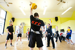 Dave Jenkins IKFF CKT1 and CKT2 Functional Movement Dynamics Specialist delivered a 2 hour Kettlebell Introductory workshop at the Barcelo Stirling Highland Hotel on Sunday 8th May, 2011..©2011 Michael Schofield. All Rights Reserved..