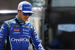 July 13, 2018 - Sparta, Kentucky, United States of America - Kyle Larson (42) hangs out in the garage during practice for the Quaker State 400 at Kentucky Speedway in Sparta, Kentucky. (Credit Image: © Chris Owens Asp Inc/ASP via ZUMA Wire)