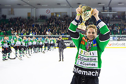 Ales Music of Olimpija with trophy during ice hockey game between HDD Telemach Olimpija and Team Jesenice in 2nd leg of Finals of Slovenian National Championship 2014, on April 3, 2014 in Hala Tivoli, Ljubljana, Slovenia. Photo by Matic Klansek Velej / Sportida
