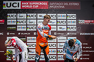 Mens Podium: 2nd, #7 (GRAF David) SUI; 1st #313 (KIMMANN Niek) NED; 3rd, #595 (MOLINA Gonzalo) ARG at Round 10 of the 2019 UCI BMX Supercross World Cup in Santiago del Estero, Argentina