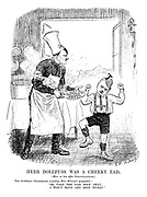 """Herr Dollfuss was a Cheeky Lad. (More or less after Struwwelpeter.) The Austrian Chancellor (rejecting Herr Hitler's proposals) - """"Oh, take the Nazi soup away, I won't have any soup to-day."""""""