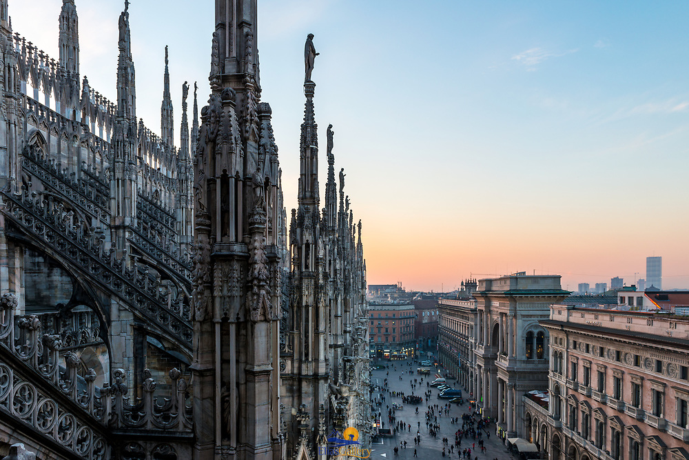 View of Milan from the roof of Il Duomo, Milan. Italy.