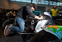 Hazard Motorcycles' Matteo Fustinoni on his Ghisarama 1984 Harley-Davidson Ironhead Sportster racer at Motor Bike Expo (MBE) bike show. Verona, Italy. Friday, January 17, 2020. Photography ©2020 Michael Lichter.