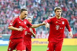 29.10.2011, Allianz Arena, Muenchen, GER, 1.FBL,  FC Bayern Muenchen vs 1. FC Nuernberg, im Bild  Jubel nach dem 3-0 durch Franck Ribery (Bayern #7) mit Thomas Mueller (Bayern #25) // during the match FC Bayern Muenchen vs 1. FC Nuernberg, on 2011/10/29, Allianz Arena, Munich, Germany, EXPA Pictures © 2011, PhotoCredit: EXPA/ nph/  Straubmeier       ****** out of GER / CRO  / BEL ******