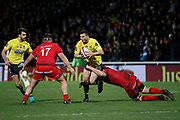 Rémy Grosso of Clermont and Patricio Fernandez of Clermont and Stephane Clement of Lyon during the French championship Top 14 Rugby Union match between Lyon OU and Clermont on February 17, 2018 at Groupama stadium in Lyon, France - Photo Romain Biard / Isports / ProSportsImages / DPPI
