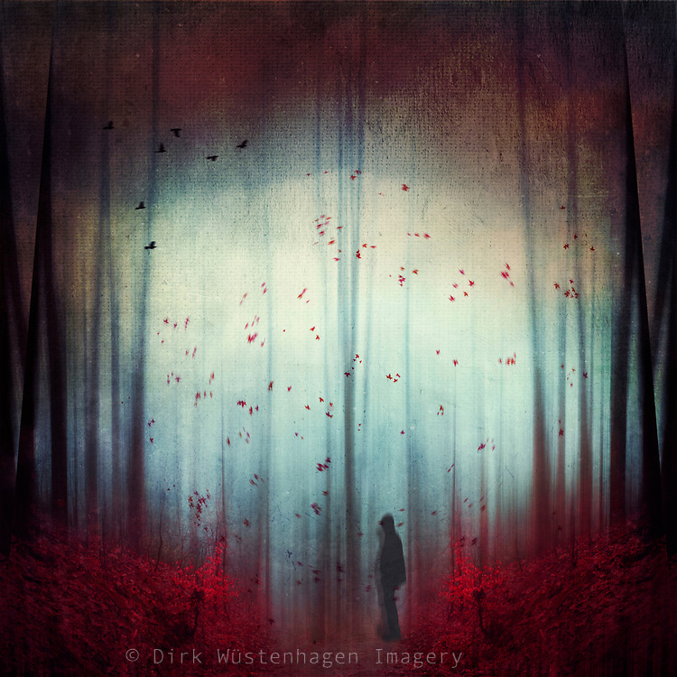 Abstract forest scene with a man, flying leaves and birds in red and blue