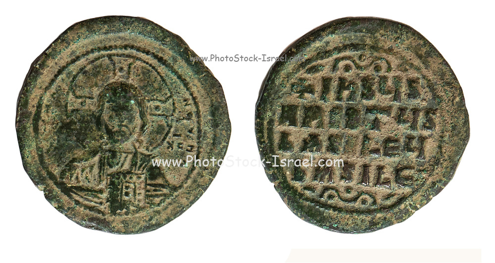 """10-11th century Christian coin with bust of Christ and a Greek inscription """"Jesus Christ King of Kings"""" On White Background"""