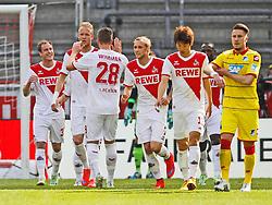 12.04.2015, RheinEnergieStadion, Köln, GER, 1. FBL, 1. FC Köln vs TSG 1899 Hoffenheim, 28. Runde, im Bild Torschuetze Matthias Lehmann (1. FC Koeln #33), Kevin Vogt (1. FC Koeln #6), Kevin Wimmer (1. FC Koeln #28),Marcel Risse (1. FC Koeln #7) und Yuya Osako (1. FC Koeln #13) beim Torjubel nach dem Treffer zum 1:0 // during the German Bundesliga 28th round match between 1. FC Cologne and TSG 1899 Hoffenheim at the RheinEnergieStadion in Köln, Germany on 2015/04/12. EXPA Pictures © 2015, PhotoCredit: EXPA/ Eibner-Pressefoto/ Schüler<br /> <br /> *****ATTENTION - OUT of GER*****