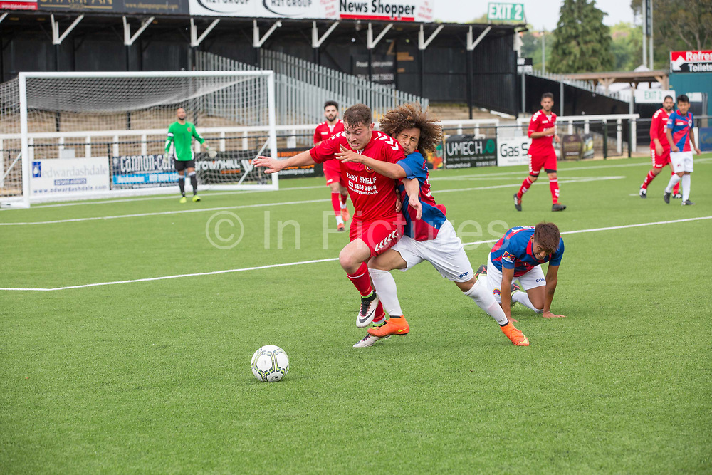 Gurkan Gokmen defends againts Tashi Samphel attack for Tibet.  London Turkish All-Stars Vs Tibet during the Conifa Paddy Power World Football Cup Placement Match A on the 5th June 2018 at Bromley in the United Kingdom. London Turkish All-Stars 4 Tibet 0. were due to play Ellan Vannin, although Ellan Vannin were withdrawn by CONIFA. Ellan Vannin's withdrawal comes following a vote of the tournament management committee on Monday 4 June, which rejected a challenge by Ellan Vannin to the eligibility of a Barawa player. The CONIFA World Football Cup is an international football tournament organised by CONIFA, an umbrella association for states, minorities, stateless peoples and regions unaffiliated with FIFA.