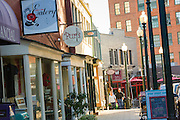 Shops and restaurants along Wall Street in Asheville, North Carolina.