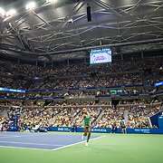 2019 US Open Tennis Tournament- Day Six.  Fifteen year old Coco Gauff of the United States in action against Naomi Osaka of Japan in the Women's Singles Round three match on a packed Arthur Ashe Stadium during the 2019 US Open Tennis Tournament at the USTA Billie Jean King National Tennis Center on August 31st, 2019 in Flushing, Queens, New York City.  (Photo by Tim Clayton/Corbis via Getty Images)