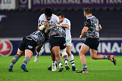 Clermont Auvergne's Sitaleki Timani is tackled by Ospreys' Ma'afu Fia and Ma'afu Fia - Mandatory by-line: Craig Thomas/JMP - 15/10/2017 - RUGBY - Liberty Stadium - Swansea, Wales - Ospreys Rugby v Clermont Auvergne - European Rugby Champions Cup