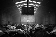 Calais, France, 6 jan 2015, Calais, Winter shelter for refugees in baskethall