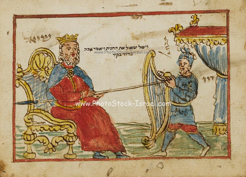 King Saul and David with harp 18th century Hebrew Manuscript Tefilot u-piyuṭim (Prayers and songs) illuminated colour manuscript by Mordo, Eliʻezer;