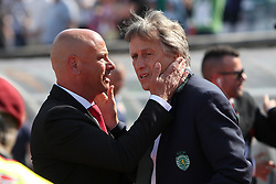 May 20, 2018 - Lisbon, Portugal - Aves' head coach Jose Mota (L) hugs Sporting's head coach Jorge Jesus from Portugal during the Portugal Cup Final football match CD Aves vs Sporting CP at the Jamor stadium in Oeiras, outskirts of Lisbon, on May 20, 2015. (Credit Image: © Pedro Fiuza/NurPhoto via ZUMA Press)