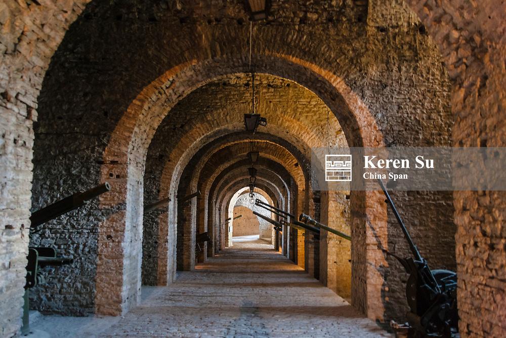Tunnel inside the castle of Gjirokaster in the mountain, UNESCO World Heritage site, Albania