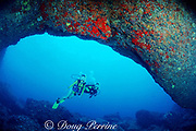 divers explore lava tube cave, off Koko Head, South Shore, Oahu Hawaii ( Pacific ), MR 288-289