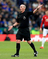 Referee Martin Atkinson in action during the Premier League match at the King Power Stadium, Leicester.