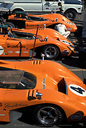 The Can-Am McLaren Team's trio of M8B cars at the 1969 Laguna Seca Can-Am; Photo by Pete Lyons 1969/© 2016 Pete Lyons/petelyons.com;