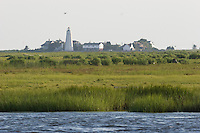 Back River and Great Island from Smiths Neck boat landing, Old Lyme, CT with view to Lynde Point Light at the mouth of the Connecticut River.