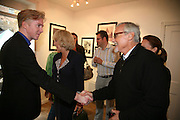 PHILIP TREACY, THE DUCHESS OF CORNWALL AND DENNIS HOPPER,  Norman Parkinson and Philip Treacy, an exhibition of photographs by Norman Parkinson and drawings by celebrated milliner Philip Treacy. ELEVEN Gallery. VICTORIA. LONDON. 3 July 2007.  -DO NOT ARCHIVE-© Copyright Photograph by Dafydd Jones. 248 Clapham Rd. London SW9 0PZ. Tel 0207 820 0771. www.dafjones.com.