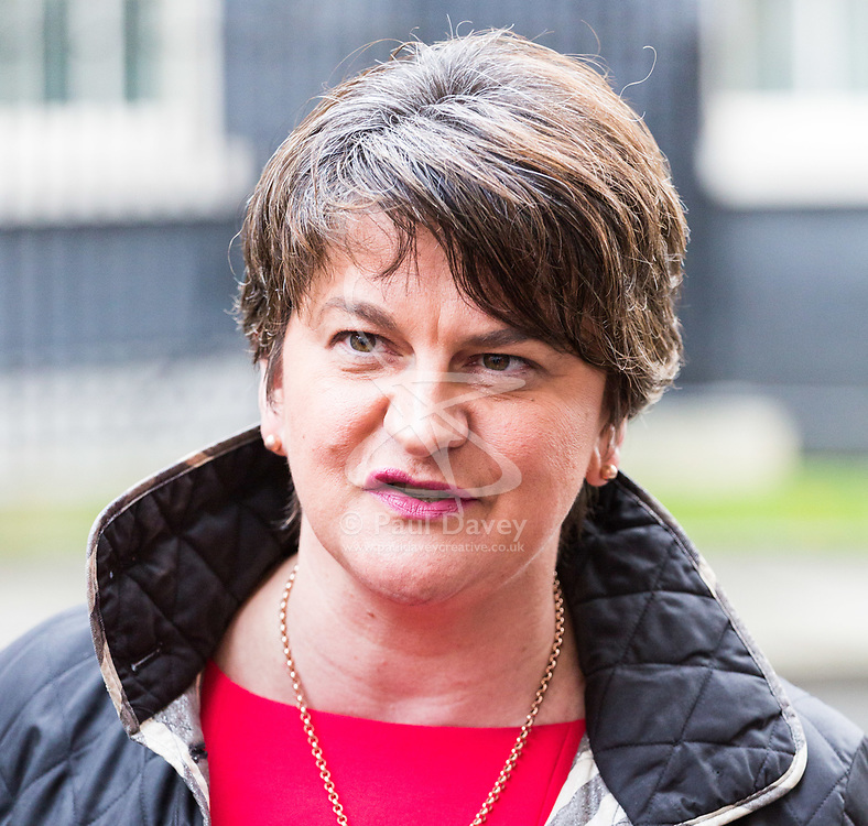 London, November 21 2017. Arlne Foster speaks to the media after leaders of Northern Ireland's two main political parties the DUP and Sinn Fein met separately with British Prime Minister Theresa May at Downing Street. © Paul Davey