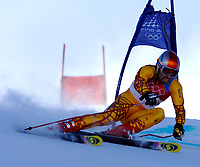 Photo: Catrine Gapper.<br />Winter Olympics, Turin 2006. Alpine Skiing Mens Giant Slalom. 20/02/2006. Francois Bourque finishes Men s Giant Slalom in fourth place.