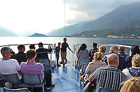 Good way to see Lake Como, Italy, is from the observation deck of the many ferry boats that criss-cross the lake. 4th October 2014, 201410043703<br />