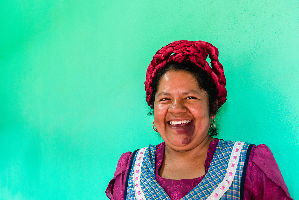 Portrait of smiling Zapotec woman from Oaxaca, Mexico