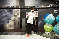 © Licensed to London News Pictures. 28/11/2017. London, UK. Geordie Shaw reality TV star AARON CHALMERS takes part in a photo call at Urban Kings Gym ahead of his MMA (Mixed Martial Arts) fight at Metro Radio Arena, Newcastle upon Tyne on 15th December 2017. Photo credit: Ray Tang/LNP