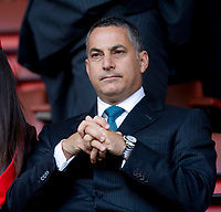 LIVERPOOL, ENGLAND - Tuesday, April 22, 2008: DIC chief executive Sameer Al-Ansari watches with a friend during the UEFA Champions League Semi-Final 1st Leg match between Liverpool and Chelsea at Anfield. (Photo by David Rawcliffe/Propaganda)