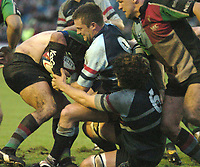 Photo: Ian Hebden.<br />Bedford Blues v Harlequins. National League Division 1.<br />03/12/2005.<br />Bedford scrum half Dom Malone (C) scraps for the ball