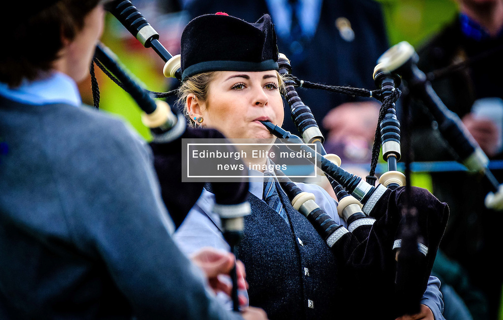 Peebles, Scotland UK  3rd September 2016. Peebles Highland Games, the biggest 'highland' games in the Scottish  Borders took place in Peebles on September 3rd 2016 featuring pipe band contests, highland dancing competitions, haggis hurling, hammer throwing, stone throwing and other traditional events.<br /> <br /> Pictured:  a young female  piper warms up before the competition<br /> <br /> (c) Andrew Wilson   Edinburgh Elite media
