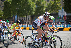 Lucinda Brand (NED) of Rabo-Liv Cycling Team digs deep on the uphill section of the loop during the La Course, a 89 km road race in Paris on July 24, 2016 in France.