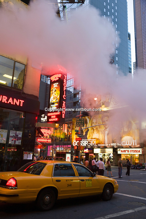 New york Times square steam pipe. street life in Times square area ;  Manhattan
