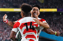 Japan's Kotaro Matsushima congratulated by Rikiya Matsuda after his 3rd and Japan's 4th try during the Pool A match between Japan and Russia at the Tokyo Stadium, Tokyo, Japan. Picture date: Friday September 20, 2019. See PA story RUGBYU Japan. Photo credit should read: Ashley Western/PA Wire. RESTRICTIONS: Editorial use only. Strictly no commercial use or association. Still image use only. Use implies acceptance of RWC 2019 T&Cs (in particular Section 5 of RWC 2019 T&Cs) at: https://bit.ly/2knOId6