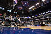 April 2, 2016; Indianapolis, Ind.; The Seawolf women's basketball team runs drills during their practice session at Bankers Life Fieldhouse.