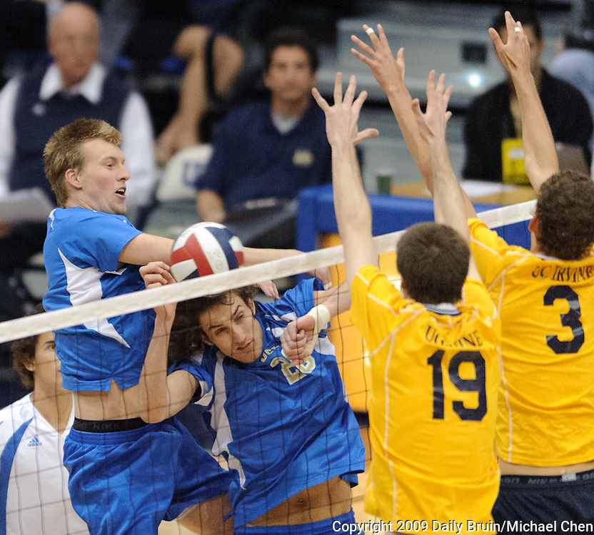 Senior opposite Sean O'Malley (left) has his shot blocked during the No. 9 UCLA Bruins' 3-1 loss to the No. 1 UC Irvine Anteaters in the first round of MPSF play-offs at the Bren Event Center in Irvine, Calif., on Saturday, April 25, 2009.