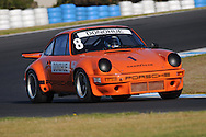 Ex Mark Donohue International Race of Chamipons (IORC) Porsche 911 RSR Race Car at Phiilip Island Classic Event. <br /> March 9th 2014